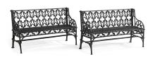 Pair of American Gothic Revival Cast Iron Garden Benches