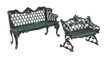 Two Victorian-Style Cast Aluminum Garden Benches