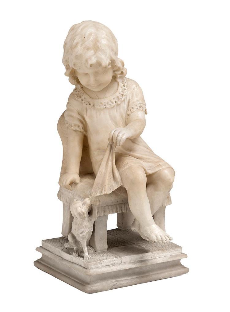 Charming Carved Alabaster Figural Group
