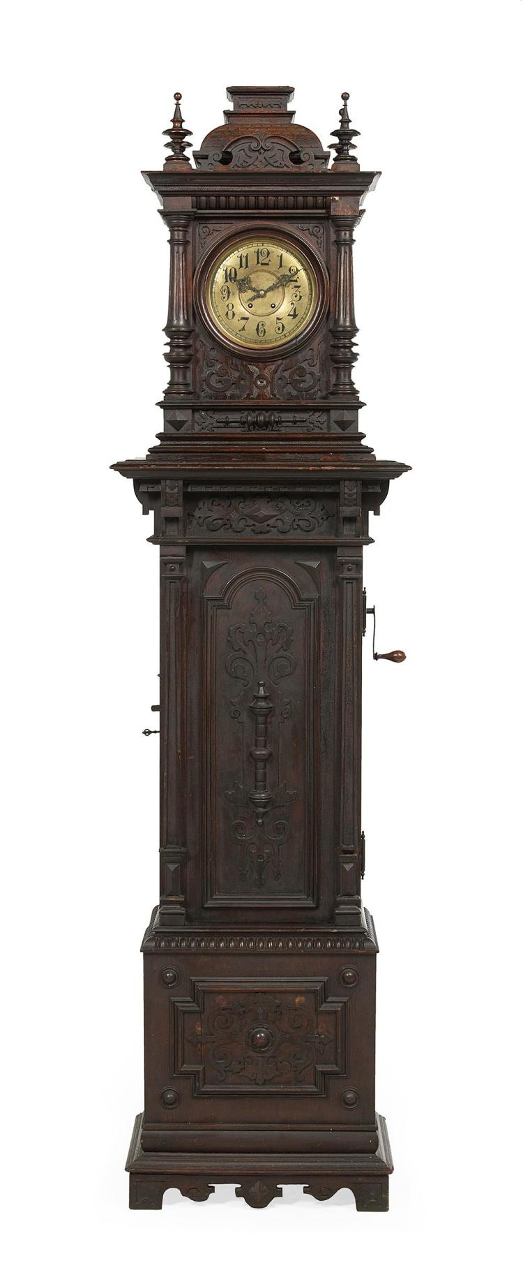 Continental Baroque-Style Carved Oak Symphonion Musical Tall Case Clock