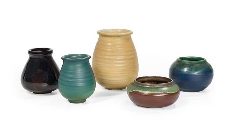 Collection of Five Pieces of Newcomb College Art Pottery, by Joseph Meyer, ca. 1905-1915