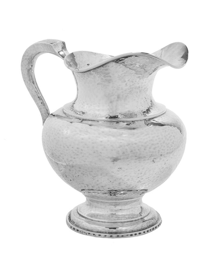Arts & Crafts-Style Sterling Silver Water Pitcher