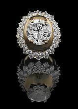 14 Kt. Gold,  Light Yellow and White Diamond Ring