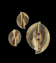 18 Kt. Gold, Diamond and Ruby Pin and Earrings