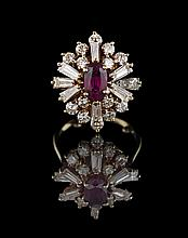 14 Kt. Gold, Ruby and Diamond Ballerina Ring