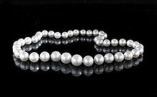 Graduated Strand of South Sea Cultured Pearls