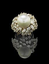14 Kt. Gold, Pearl and Diamond Cluster Ring