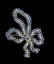 14 Kt. Yellow Gold, Sapphire and Diamond Bow Pin