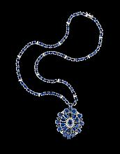 14 Kt. White Gold, Sapphire and Diamond Necklace