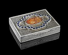 Continental Silver and Sapphire Snuffbox