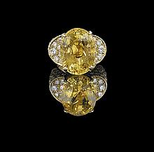 18 Kt. Gold, Yellow Sapphire and Diamond Ring