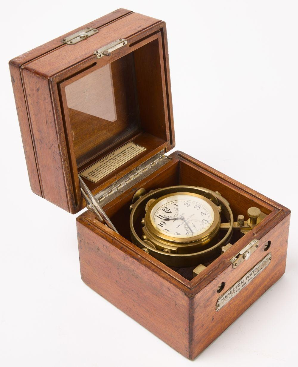 Hamilton Mounted Chronometer Watch in Wood Case.