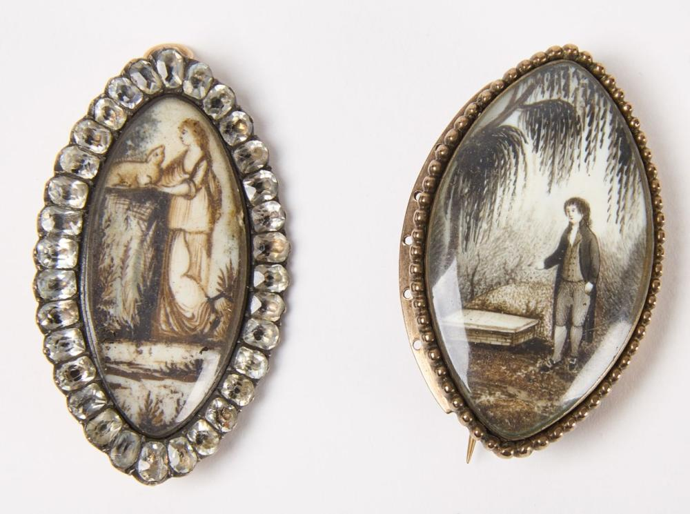 Two Hand Painted Victorian Mourning Pins