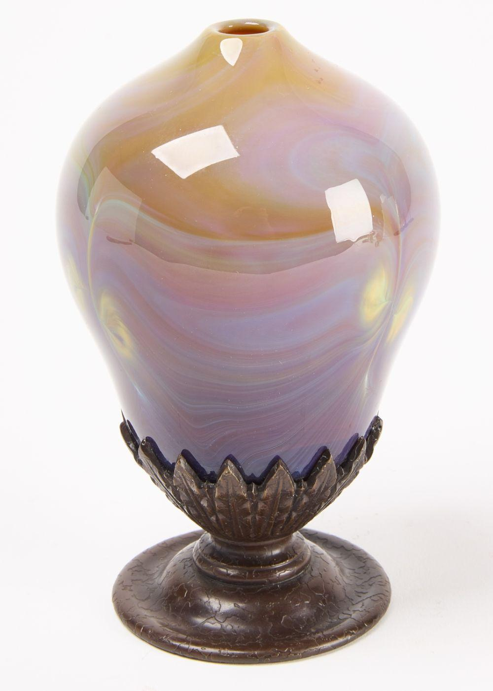 Tiffany Glass and Bronze Vase