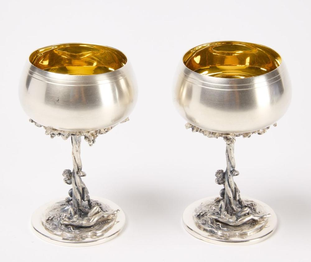 Pair of Sterling Italian Chalices