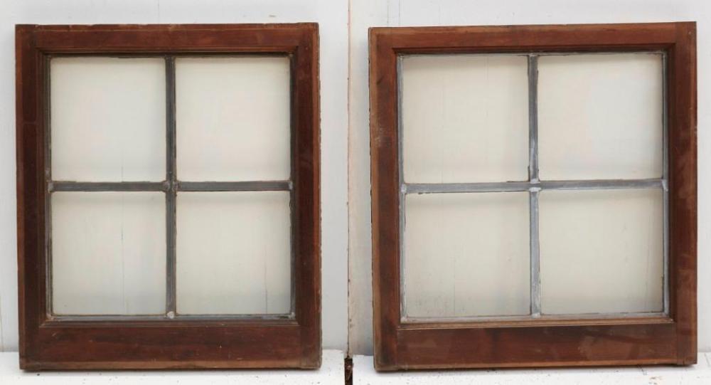 27-Leaded glass windows. Walnut or tropical wood
