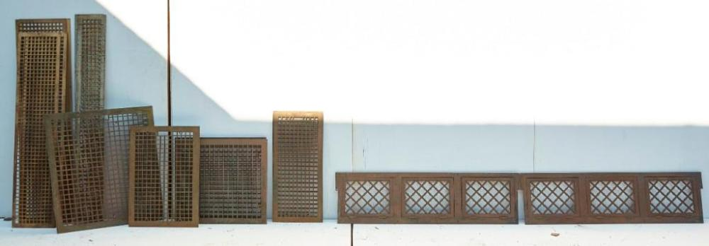 14 Cast Iron Floor grates including a Hinged Pair