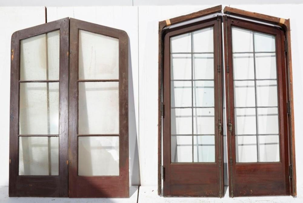 Leaded Glass two panel door with architectural surround
