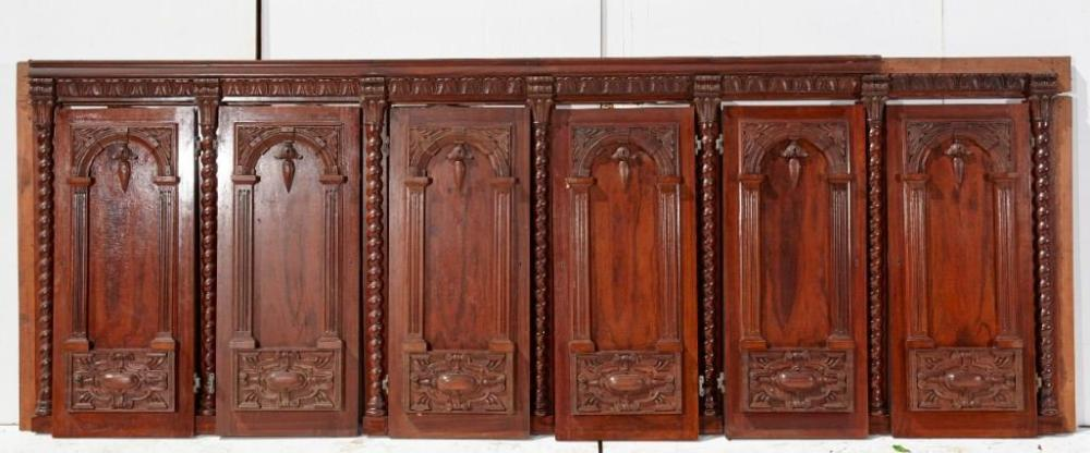 Architectural cabinet front with 6 carved doors