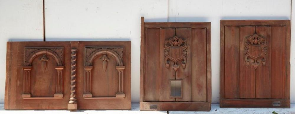 Brewster Mansion-Lot of three carved panels