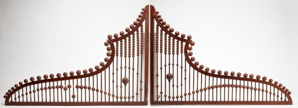 Pair of Stick and Ball Doorway Fretwork