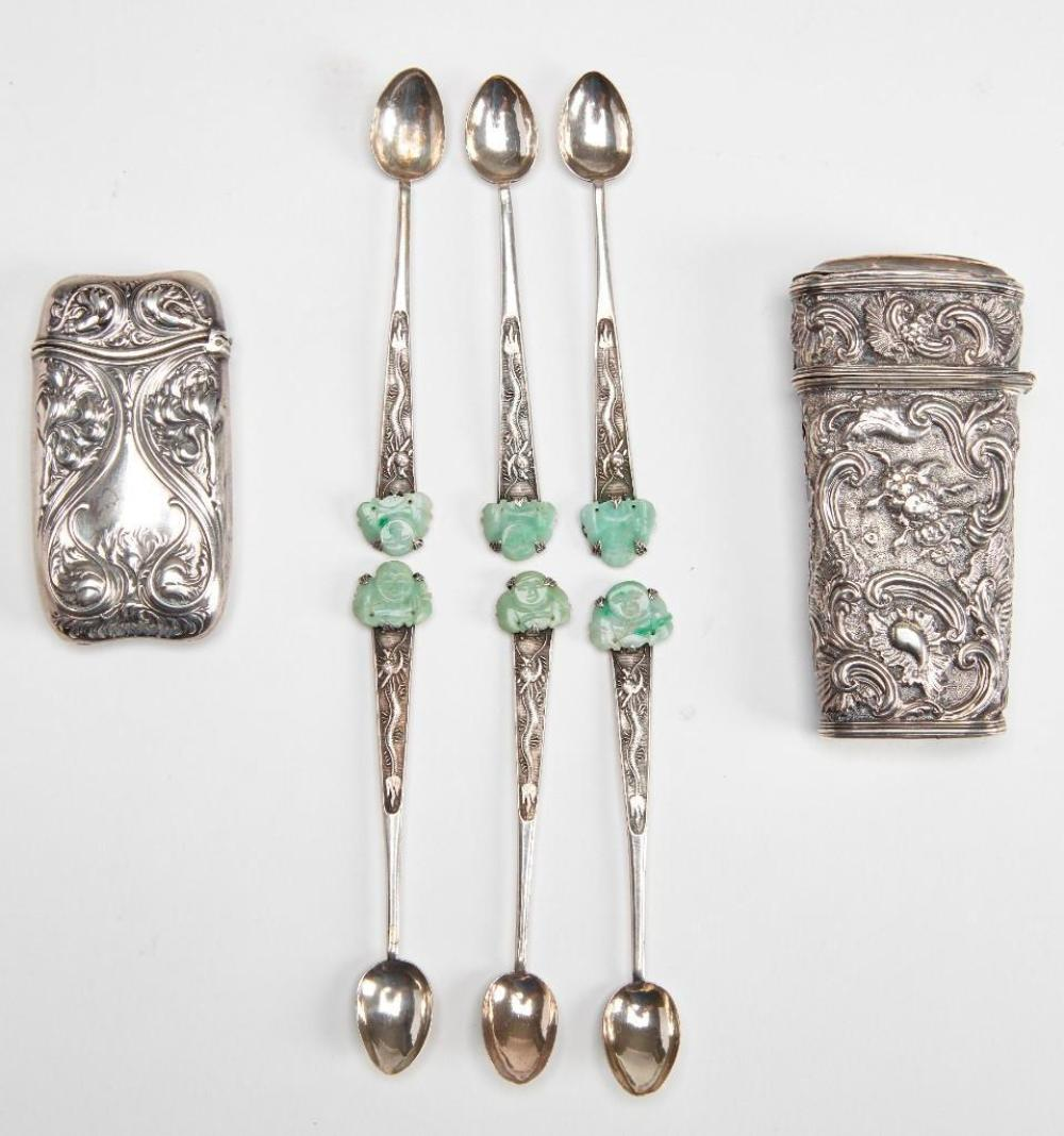 Match Safe, Sterling Sewing, Chinese Spoon lot