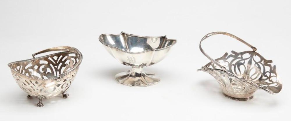 Two Sterling Pierced Baskets plus Sugar Bowl