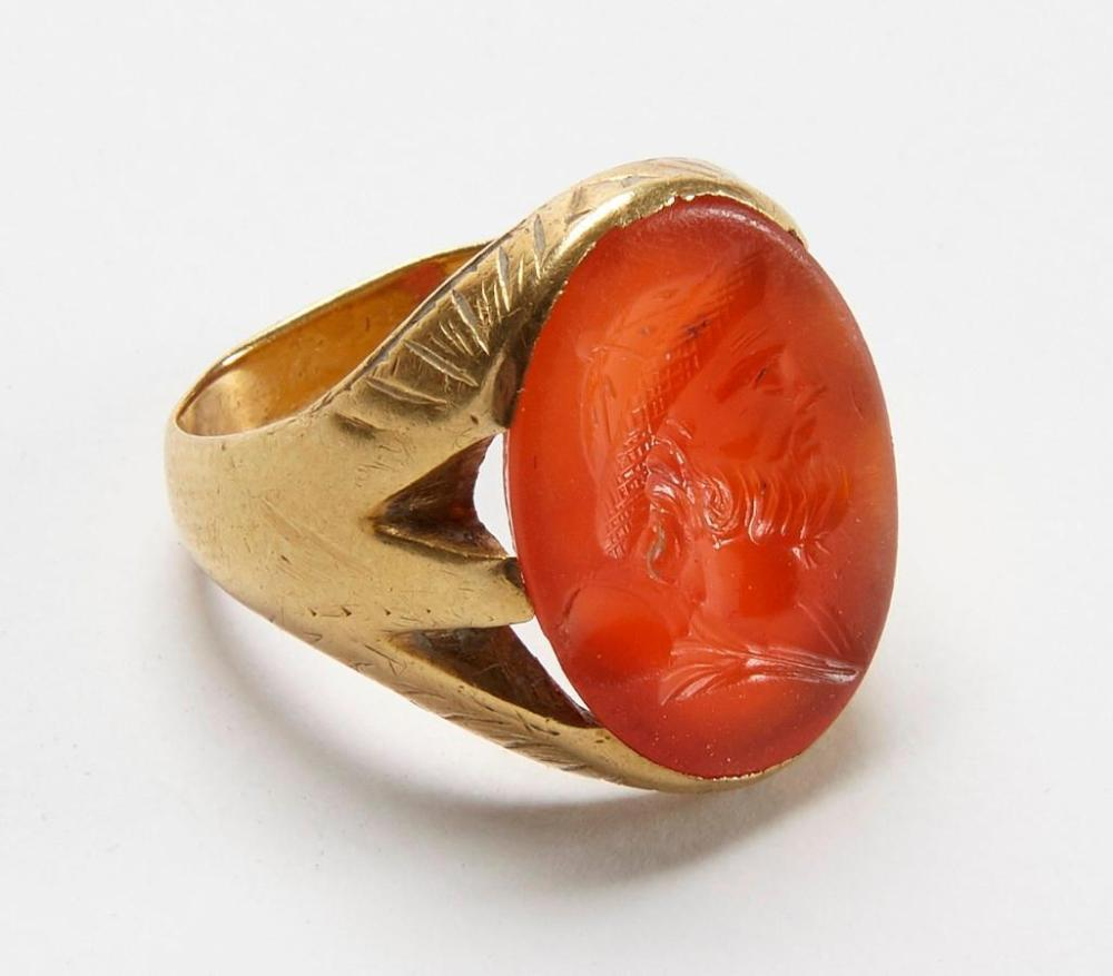Men's Antique 18K Carnelian Ring