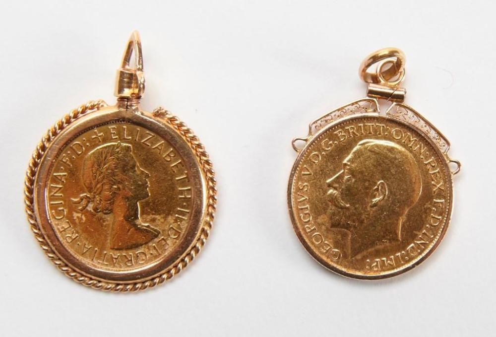 Two British Sovereign Gold Coins -1925 and 1958