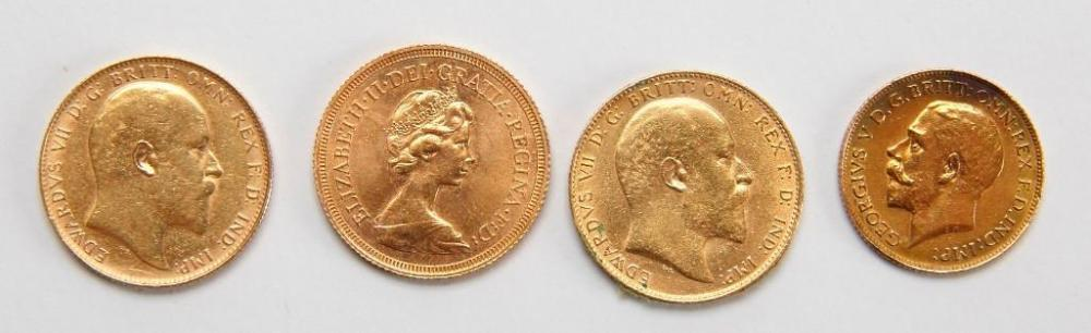 Four British Sovereign Gold Coins - 1908, 1910, 1925, 1976