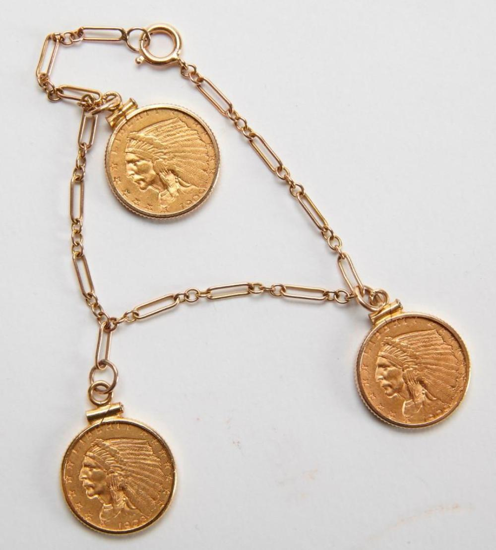 Three 2-1/2 Dollar Gold Eagle Coins