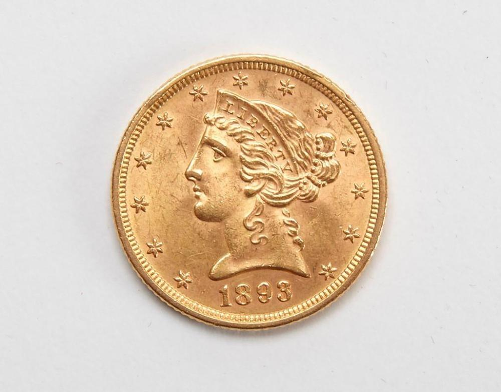 1893 Five Dollar Gold Piece