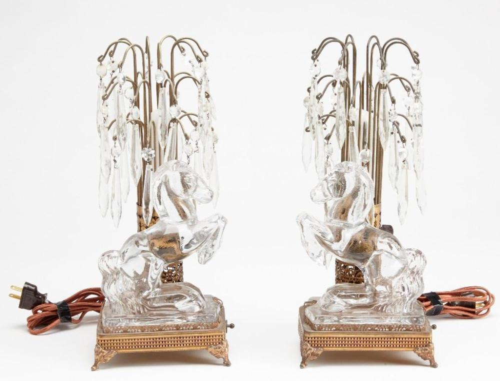 Pair of Hollywood Lamps, Horses, Prisms