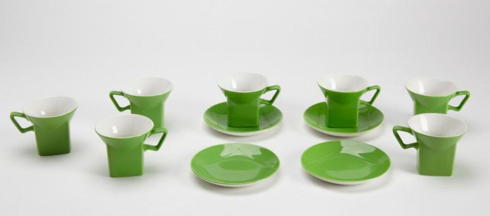 Modernist English Ceramic Cups and Saucers