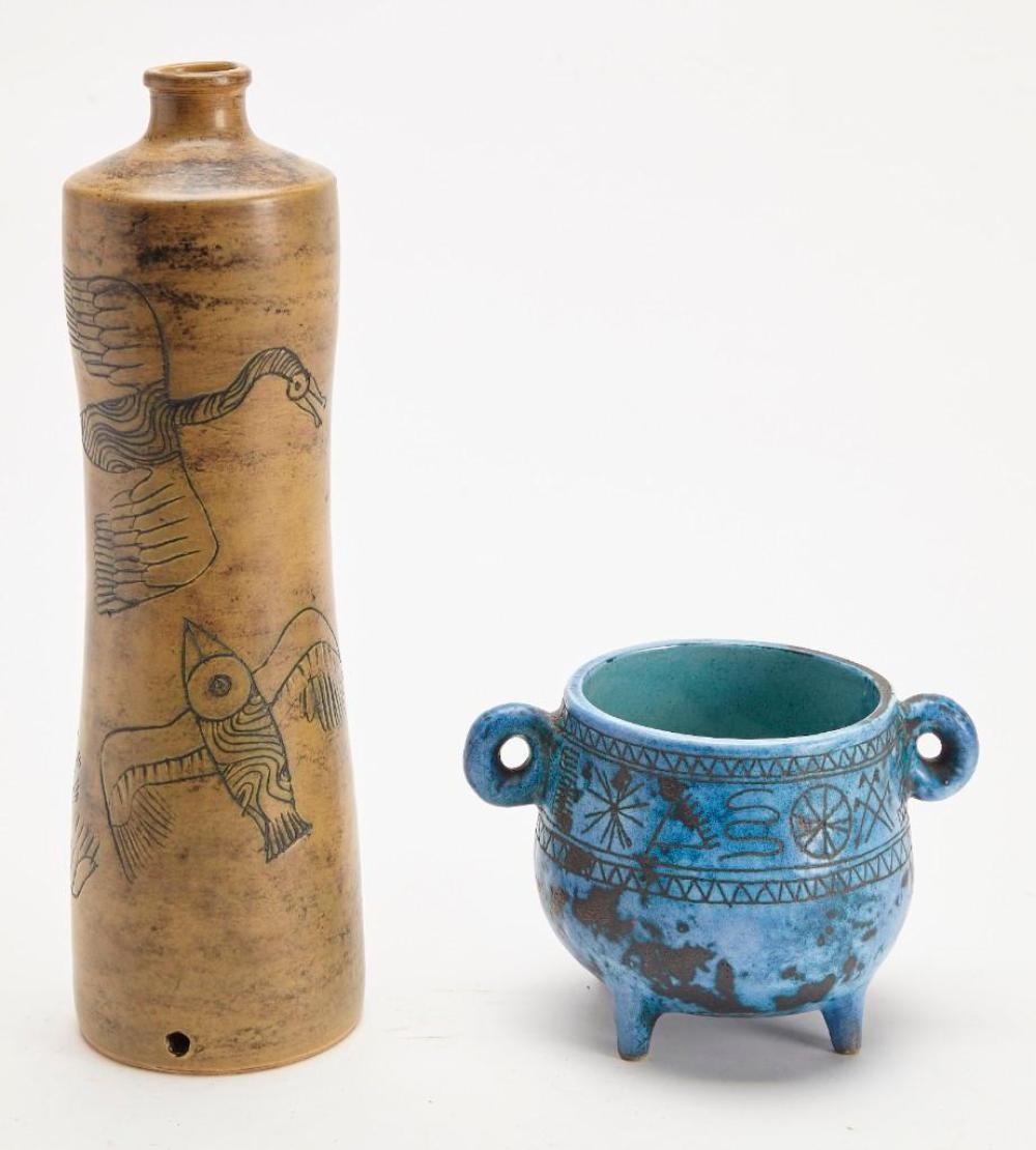 Two J Blin (1920-1995) Pottery Vases
