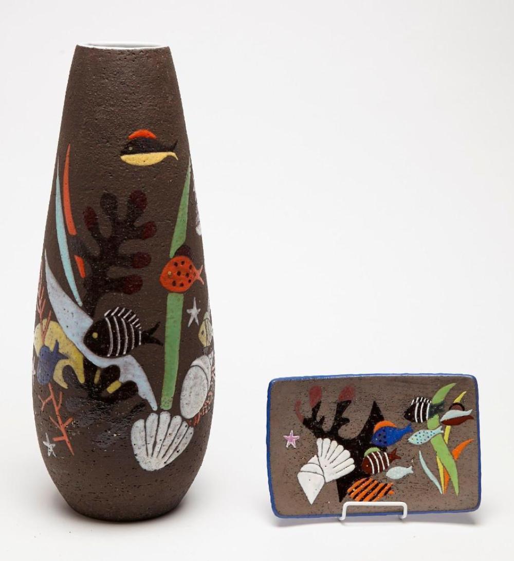Swedish Vase and Plate by Upsala Ekeby