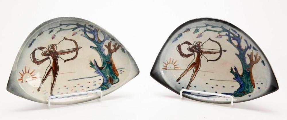 Pair Stonelain Signed Artist Plates - Alphonse Shum