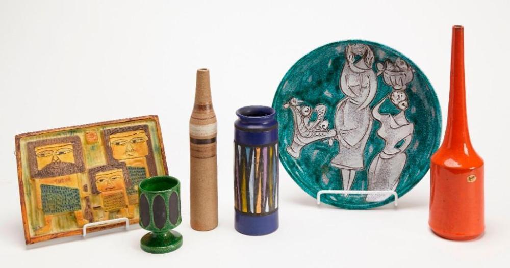 Italian 1950's 6 piece ceramic lot