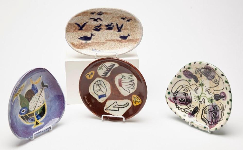 4 Stonelain Artist signed Ceramic Bowls