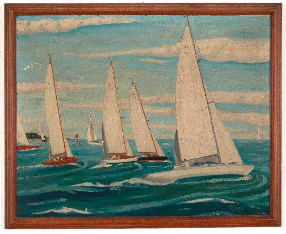 Two Primitive Nautical Paintings