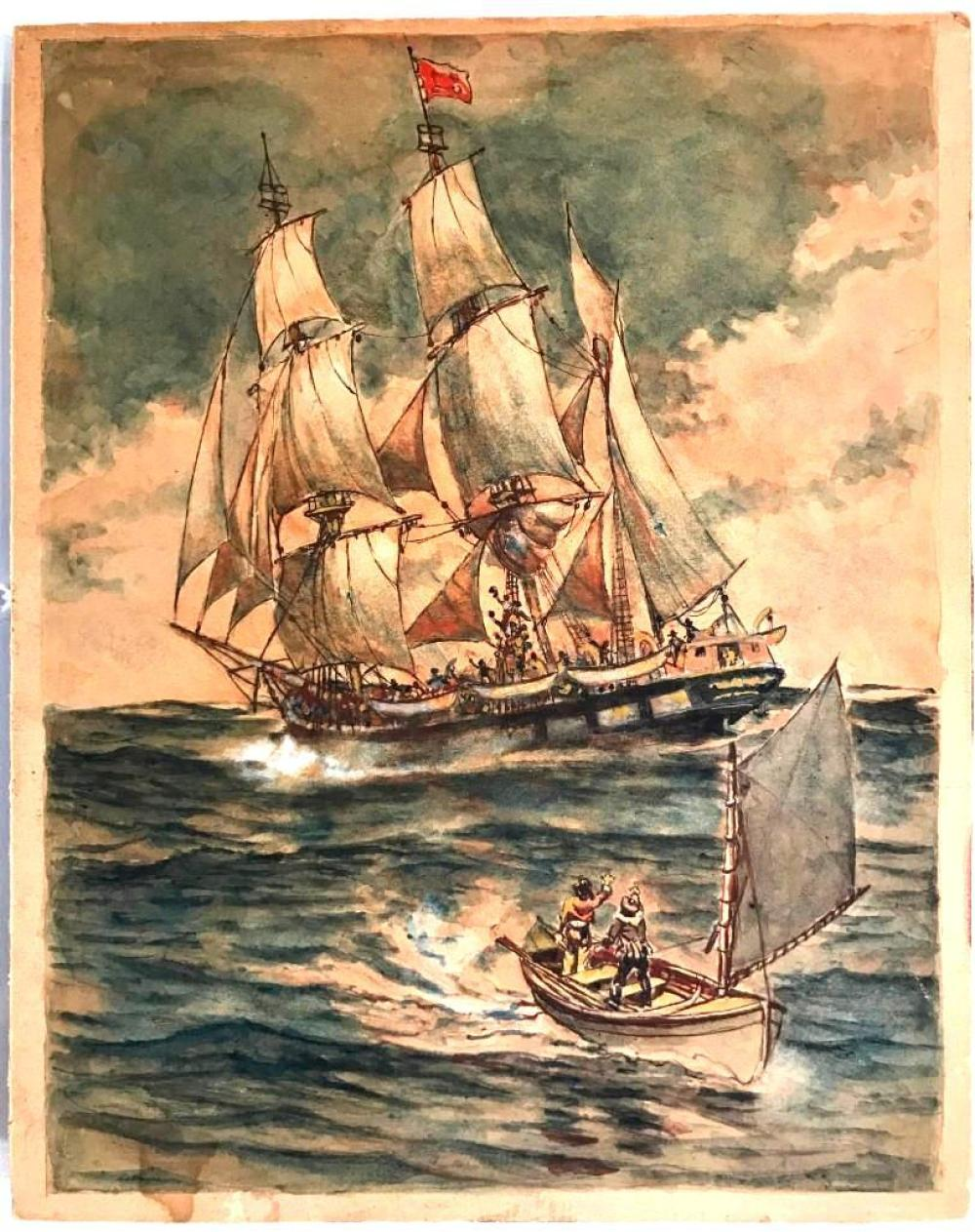 Watercolor Harbor Scene - Howard Pyle Attributed