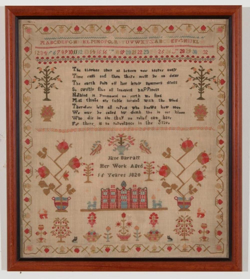 Early Needlework Sampler dated 1820