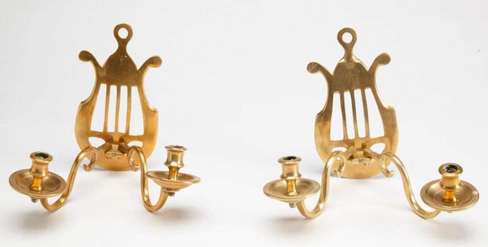 Pair English Brass Double-Armed Sconces