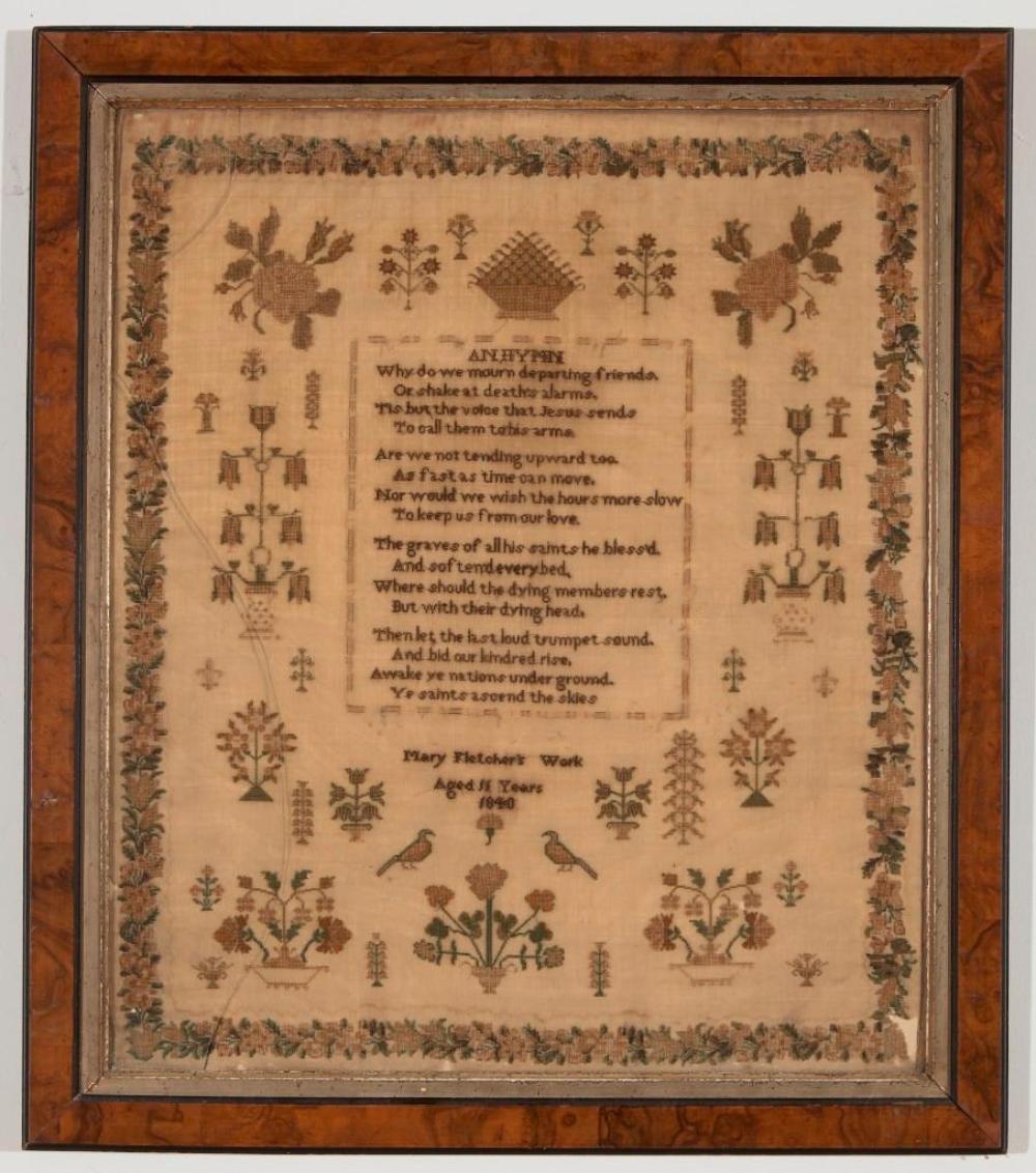 English Needlework Sampler 1840