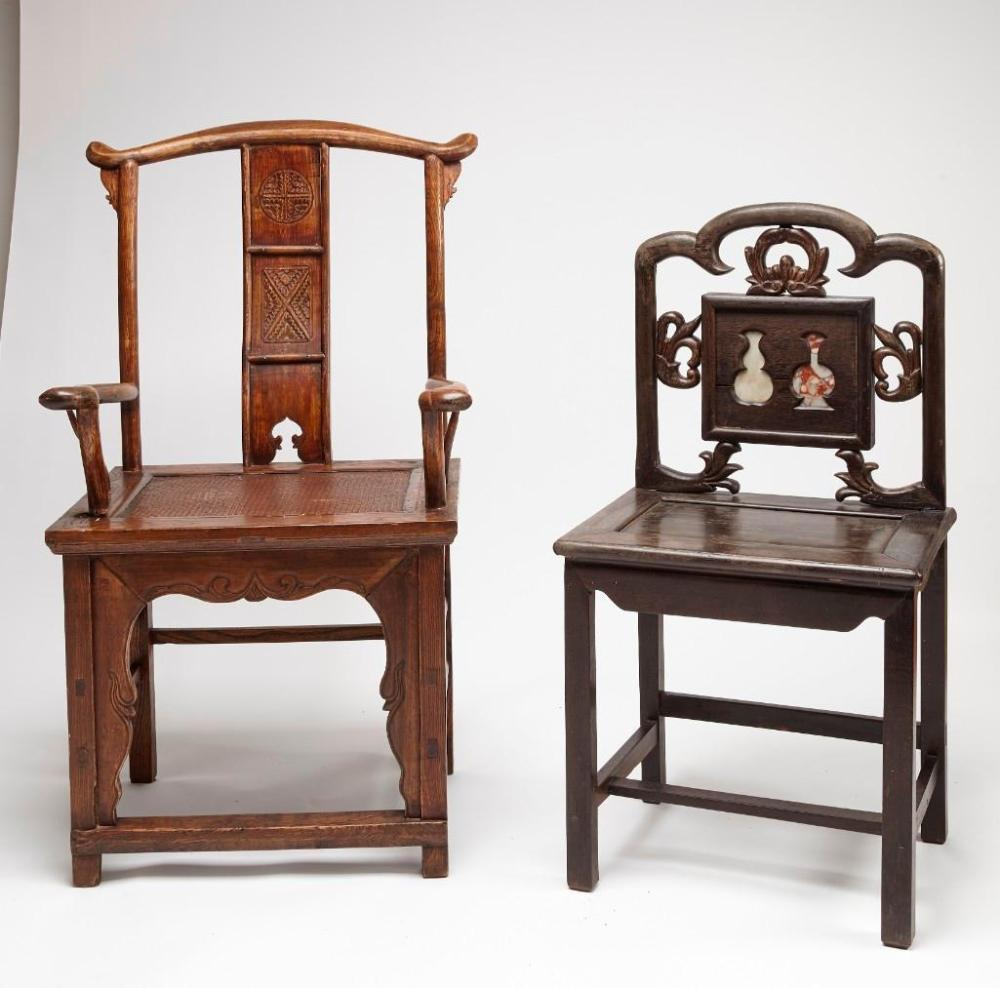 Chinese Carved Arm Chair and Side Chair