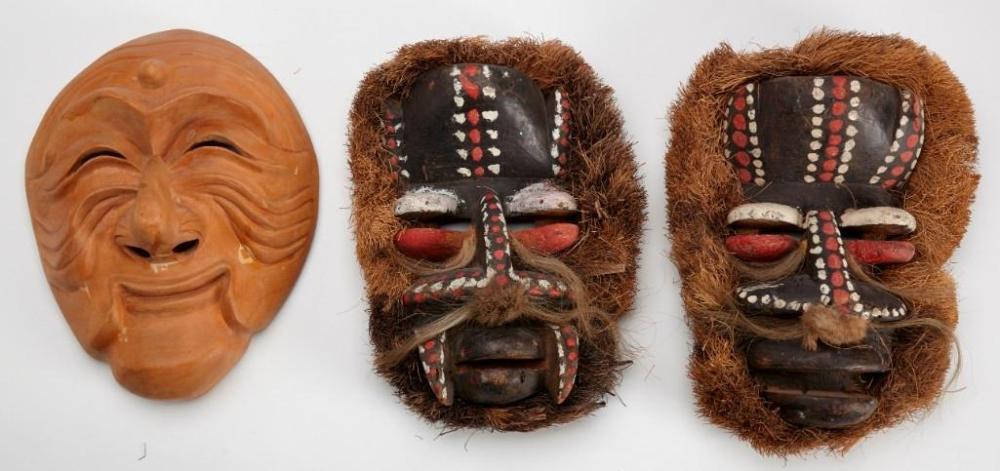 Japanese Mask plus 2 Tribal Masks