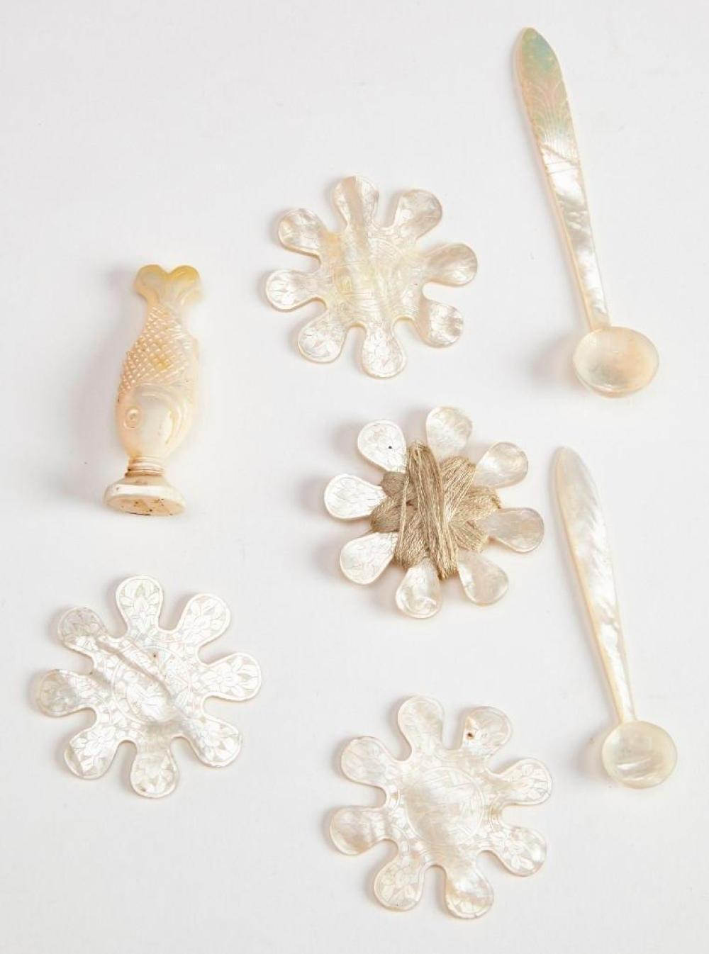 Antique Asian Mother of Pearl Sewing Items