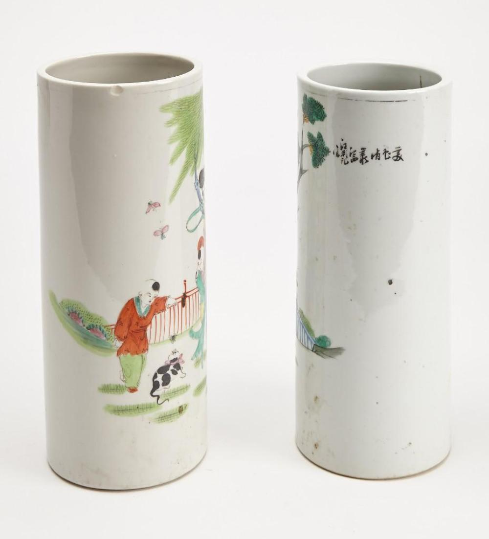Two Chinese Porcelain Hat Stands
