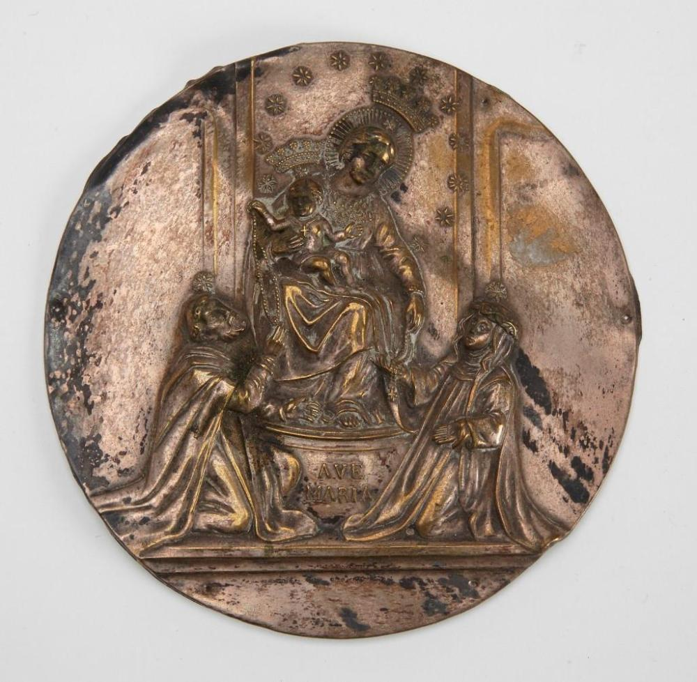 Early Religious Silver on Brass Medallion