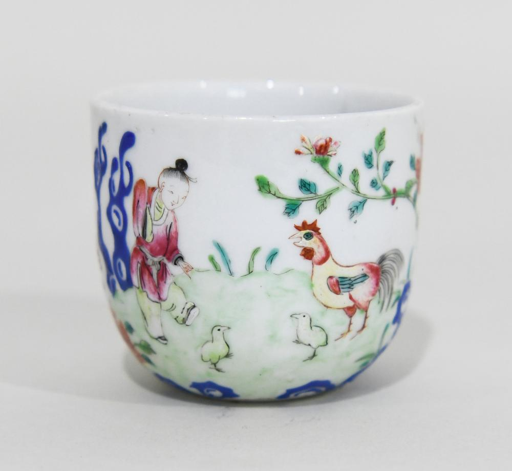 Early Chinese Porcelain Cup with Rooster. Three antique Chinese snuff bottles along with 5 other Chinese  porcelain cups.
